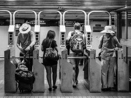 turnstile at Penn Station, New York City